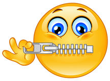 Emoticon della chiusura lampo Fotografie Stock Libere da Diritti