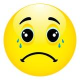 Emoticon depresso e triste con le mani sul fronte Immagine Stock Libera da Diritti