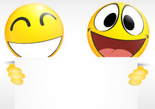 Emoticon, der ein Papierzeichen hält Lizenzfreies Stockbild