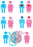 Emoticon di concetto di relazione delle coppie Immagini Stock