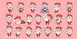 Emoticon di emoji di Santa Claus Sticker Fotografie Stock