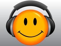 Emoticon di sorriso con la cuffia avricolare Fotografie Stock