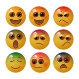Emoticon die fundamentele menselijke gevoel en emoties met gelaatsuitdrukkingen en kleuren tonen Vector illustratie stock foto