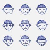 Emoticon disegnati a mano di scarabocchio di vettore messi La testa del ragazzo Fotografia Stock