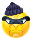 Emoticon Emoji Burglar or Thief Criminal. A cartoon emoticon emoji burglar or thief criminal character in mask and beanie hat Stock Image