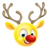 Emoticon Emoji da rena do Natal Imagens de Stock