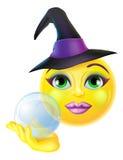 Emoticon Emoji de la bruja de Halloween stock de ilustración