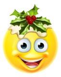 Emoticon Emoji del pudín de la Navidad Imagenes de archivo