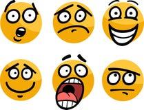 Emoticon of emoties geplaatst beeldverhaalillustratie Stock Foto