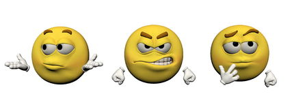 Emoticon emotion - 3d render. Emoticon emotion  in white background Stock Images