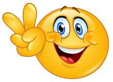 Emoticon för v-tecken Fotografering för Bildbyråer