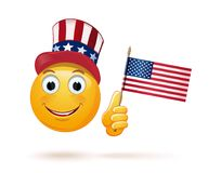 Emoticon face in Uncle Sams hat and the US flag royalty free illustration