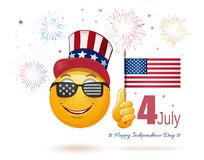 Emoticon face in Uncle Sams hat and the US flag. Glad emoticon face in Uncle Sams hat and the US flag in his hand. 4 July. Happy USA Independence Day. Funny Stock Photography