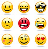 Emoticon faces. Happy, sad, angry, in love faces of emoticon Stock Image