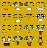 Emoticon Faces Collection. Illustrator EPS 9 set of 16 emoticons Royalty Free Stock Photography