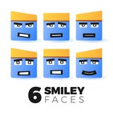 Emoticon faces set. Smiley faces vector set. Emotions on square-shaped characters. Emoticons for your apps and web projects. Emoji illustrations set isolated on Stock Image