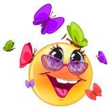 Emoticon felice, con fondo blu per il messaggero Immagini Stock Libere da Diritti
