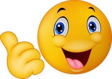 Emoticon feliz do smiley que dá os polegares acima ilustração do vetor