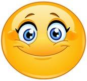 Emoticon femenino sonriente stock de ilustración