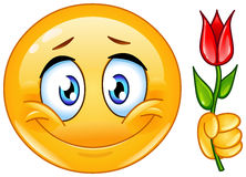 Emoticon with flower Stock Image