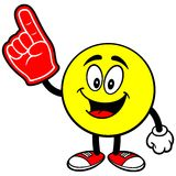 Emoticon with Foam Finger Royalty Free Stock Photography