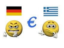 Emoticon gniewny i euro - 3d odpłacają się Zdjęcia Stock