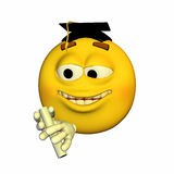 Emoticon - Graduating. Emoticon yellow guy graduating with pride Royalty Free Stock Images