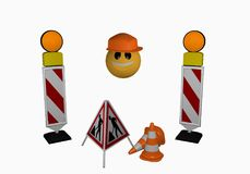 Emoticon with guide beacon, warning light, traffic cone and stan. D for a construction site 3d rendering Royalty Free Stock Photo
