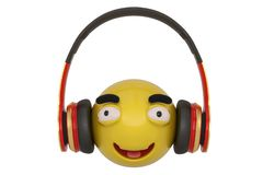 Emoticon and headphones isolated on white background. 3D illustration.  royalty free illustration