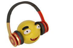 Emoticon and headphones isolated on white background. 3D illustration.  stock illustration