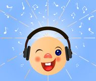 Emoticon with headphones listen music. Emoticons icons. Emoji face. Smiley with headphones.Vector musical symbol. Smile emoticon. Music emoticon with headphones vector illustration
