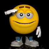 Yes, Sir. An emoticon in his pose and expression Stock Image