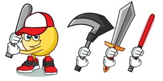 Emoticon holding a bat mascot vector cartoon illustration. This is an original character Stock Photo