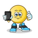Emoticon holding phone mascot vector cartoon illustration. This is an original character Stock Photography
