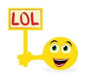 Emoticon holding sign with. Funny yellow emoticon holding LOL (Laughing Out Loud) sign isolated over white background vector illustration