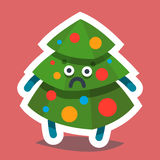 Emoticon Icon Happy New Year Fir Tree. Vector illustration emoticon emoji icon on theme of winter holiday. Autumn emoticon Christmas and New Year. Happy New Year Royalty Free Stock Images