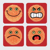 Emoticon Icons - Faces expression. Four face expression - smiley style. Good use for web icon or any design you want. Very smooth and detail  / image. Easy to Royalty Free Stock Photography