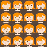 Emoticon icons set of cute girl with various emotions, emoji, facial, feeling, mood, personality, symbol Royalty Free Stock Images