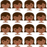 Emoticon icons set of cute girl. With various emotions, emoji, facial, feeling, mood, personality, symbol African American, Asian, Indian Stock Photography