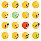 Emoticon icons set, isometric 3d style. Emoticon icons set in isometric 3d style on a white background Royalty Free Stock Image