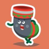 Emoticon-Ikonen-guten Rutsch ins Neue Jahr-Socke Lizenzfreie Abbildung