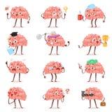 Emoticon inteligente de la expresión de carácter de la historieta del vector de la emoción del cerebro y emoji de la inteligencia libre illustration