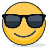 Emoticon isolado que veste óculos de sol pretos Emoticon isolado ilustração stock