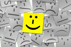 Emoticon-klebrige Anmerkung Stockfoto