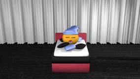 Emoticon lindo con el casquillo azul del sueño almacen de metraje de vídeo