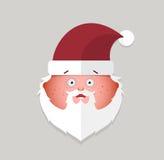 Emoticon liso da surpresa de Papai Noel Ilustração do vetor Fotos de Stock Royalty Free