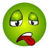 Emoticon malato con la lingua fuori Fotografie Stock