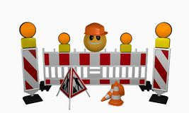 Emoticon med guidebars, säkerhetsbarriär, varningsljus, trafik royaltyfri illustrationer