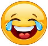 Emoticon med revor av glädje Royaltyfri Bild