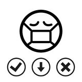 Emoticon with medical mask over mouth icon stock vector illustration flat design Royalty Free Stock Photography